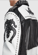 Load image into Gallery viewer, LEATHER KING Sheep Leather Black And White Studs Jacket ( Model # 0009 )