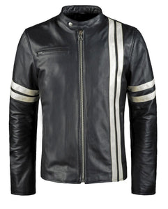 LEATHER KING Cafe Racer Style Stripes Jacket ( Model # LK0004 )