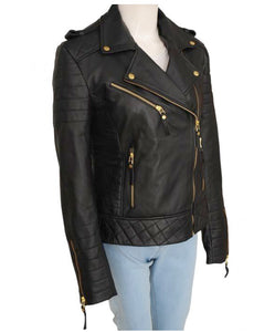 LEATHER KING Women Diamond Quilted Leather Jacket ( Model # LK0105 )