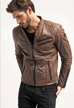 Load image into Gallery viewer, LEATHER KING Brown Jacket With Black Oxide Zip ( Model # 0006 )