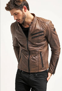 LEATHER KING Brown Jacket With Black Oxide Zip ( Model # 0006 )