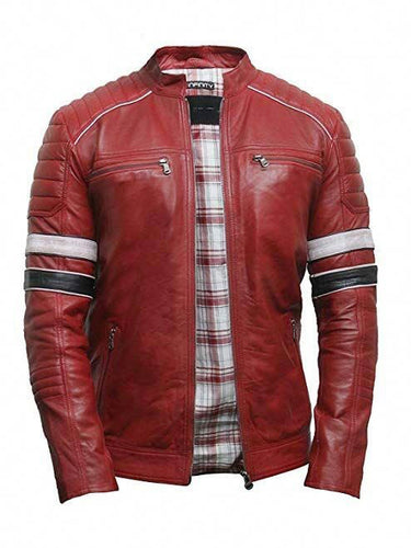 LEATHER KING Red Sheep Leather Jacket With Black & White Strips on Both Sleeves ( Model # LK0003 )