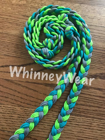 WhinneyWear Custom 8ft Lime/Turq/Grey Solid Reins