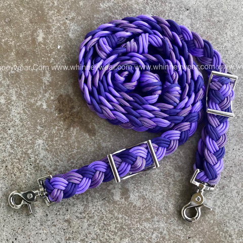 WhinneyWear Custom 8ft Purple Ombre Solid Reins