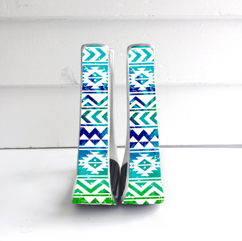 Blue Multi Color Aztec Stirrups