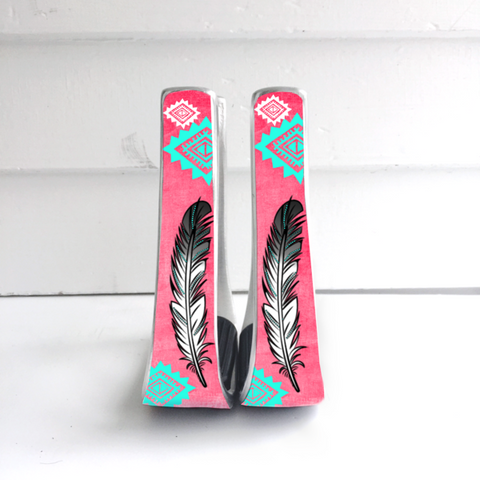 Pink/Coral Feather Stirrups