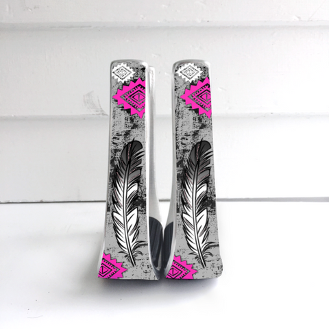 Pink/Grey Feather Stirrups