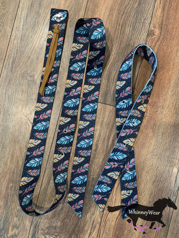 WhinneyWear Navy Feathers Patterned Cinch Set