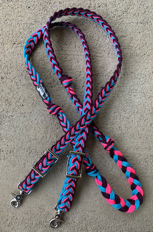 Custom 8ft Blue Raspberry Braided Reins