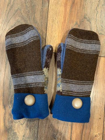 Brown/Gray Wool Mittens - #2