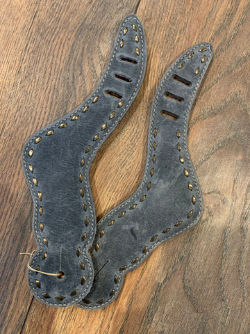 Grey/Gold Buckstitched Spur Straps