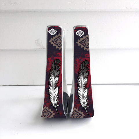 Maroon Feather Stirrups