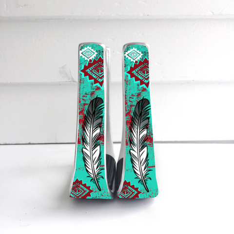 Red/Turquoise Feather Stirrups