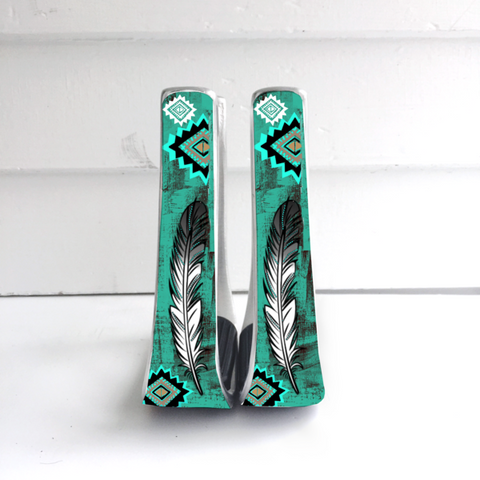 Turquoise/Gold Feather Stirrups