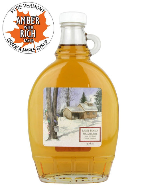 Lamb Sugarworks Maple Syrup - Amber Rich - 12 Oz Glass - A Slice of Vermont