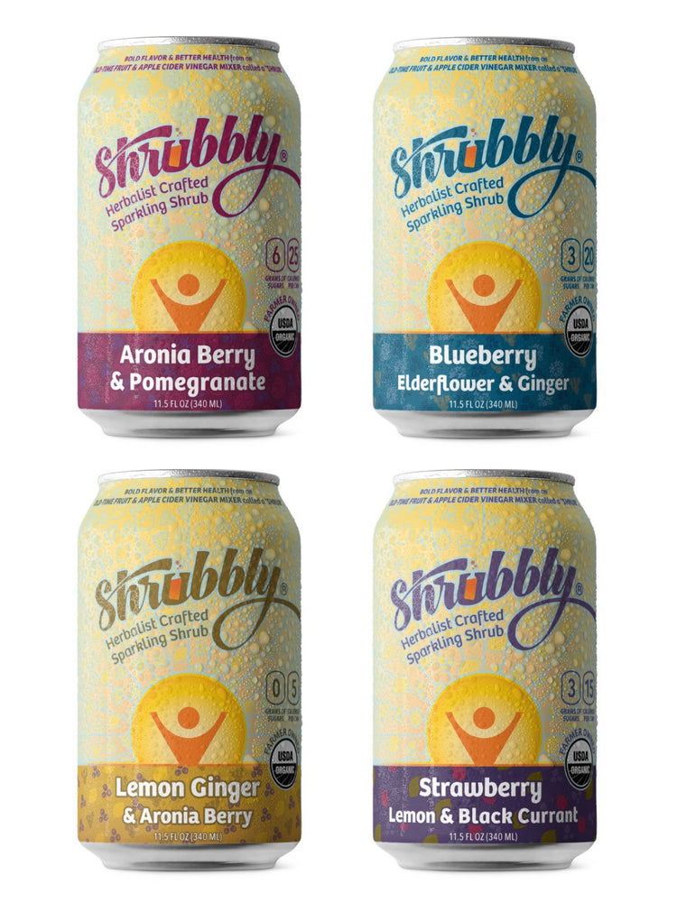 Shrubbly - Sampler (8 Pack with 2 Cans of Each Flavor) - A Slice of Vermont