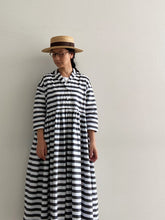 Load images into the gallery viewer,Gauze # Switching Gathered Border Shirt Dress G566
