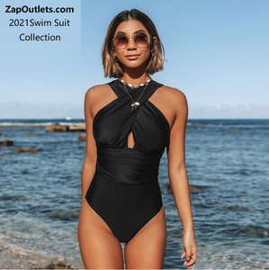 Black Deep Feelings Cross One-piece Swimsuit Women Plain Cutout Halter Swimwear 2021 Beach Sexy Bathing Suit Swimsuits