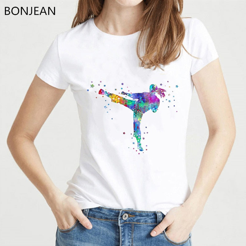2020 New Women T Shirt Fashion Popular Style t-shirt femme watercolor Karate fighter girl print tshirt female streetwear tops
