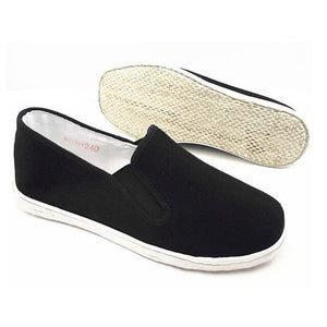 Martial Arts Kung Fu Tai Chi Shoes Chinese Traditional Old Beijing Cotton Sole Canvas Unisex Black Slip-On Shoes Jogging Walking