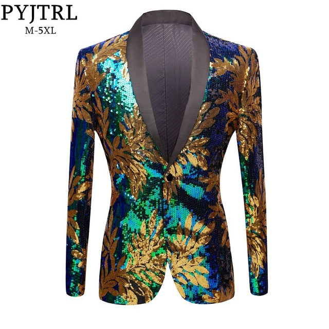 PYJTRL New Green Blue Gold Leaves Pattern Sequins Blazer DJ Night Club Singers Slim Fit Men Suit Jacket Stage Shiny Costume