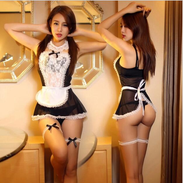 BEST SELLER Maid Uniform Costumes Role Play Women Sexy Lingerie Hot Sexy Underwear Lovely Female White Lace Erotic Costume