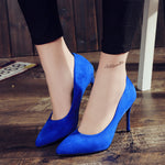 Cresfimix talon femme ladies casual office comfortable high heel shoes women fashion sweet blue heels classic sexy autumn pumps