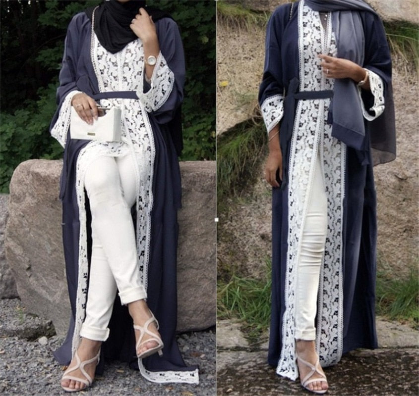 Dubai Muslim Women Dress Abaya Cardigan Long Robe Lace Lace-up Party Dresses Ramadan Caftan Arab Ethnic Islamic Costume Clothing