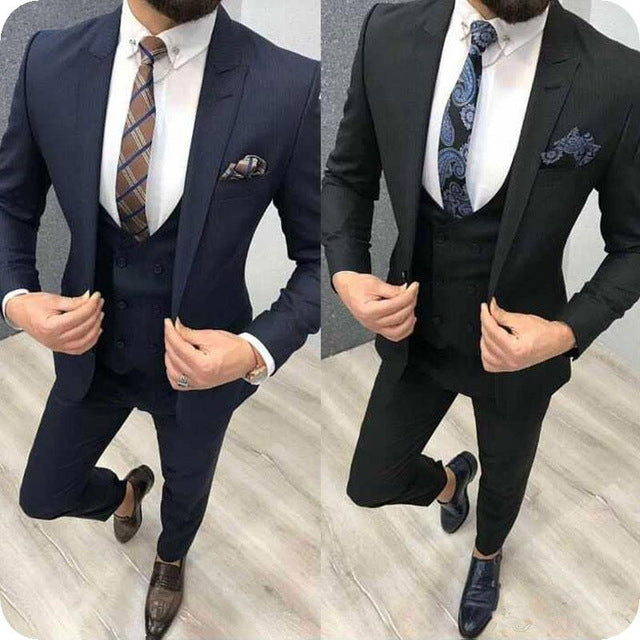 Navy Blue Formal Business Man Suits Black Men Suits for Wedding Groom Tuxedo 3 Piece Gentle Slim Fit Blazers(Coat+Pant+Vest)