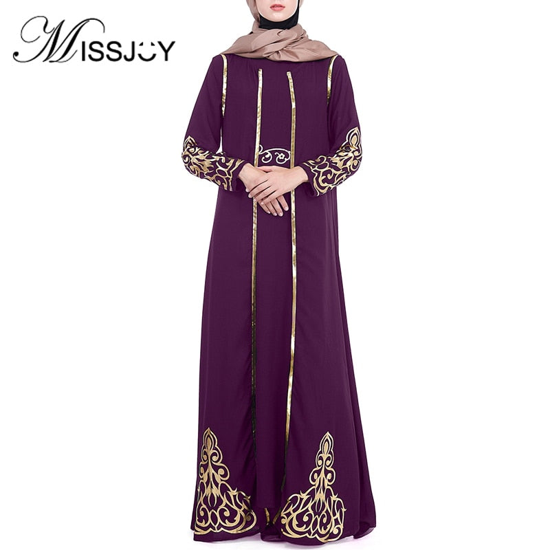 MISSJOY Two Piece Set Abayas Muslim 2019 Women Dress Party Printed Gold Turkish Middle East Vintage Ladies Islamic Clothing Robe