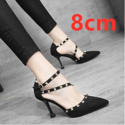 Mujer Tacones Altos Women Cool Street European Style Black High Heel Shoes Lady Casual Pointed Toe Black Party High Heels E3117