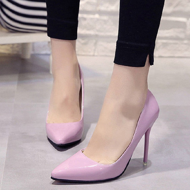 Mujer Tacones Altos Women Classic Office Heels Lady Fashion Sweet Purple Pu Leather High Heel Pumps Female Casual Shoes E5495