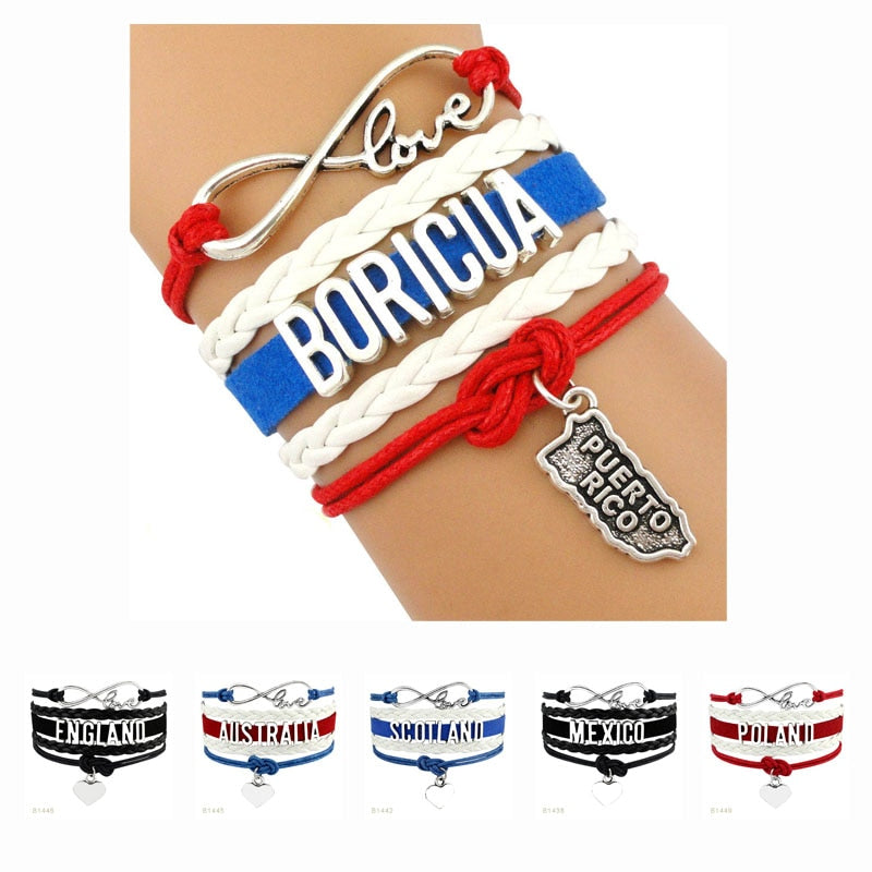 Country Puerto Rico Boricua Germany Scotland Australia England Poland Mexico Colombia United States America Bracelets for Women