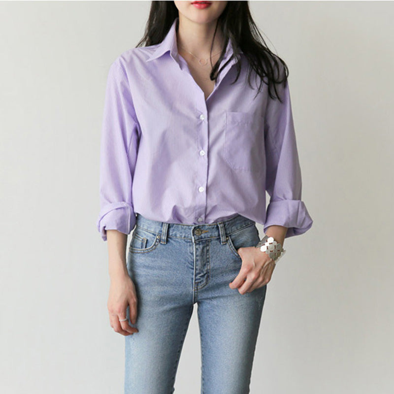Spring Women Blouse Striped Turn-down Collar Office Lady Tops Full Sleeve Women Shirts Light Purple Fashion Female Tops blusas