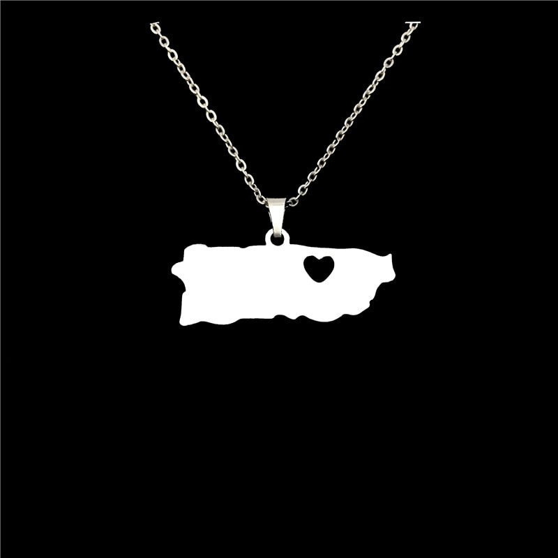 Fashion Stainless Steel Necklace Puerto Rico With Heart Map Pendant Necklaces for Women Statement Jewelery Puerto Ricans Gift