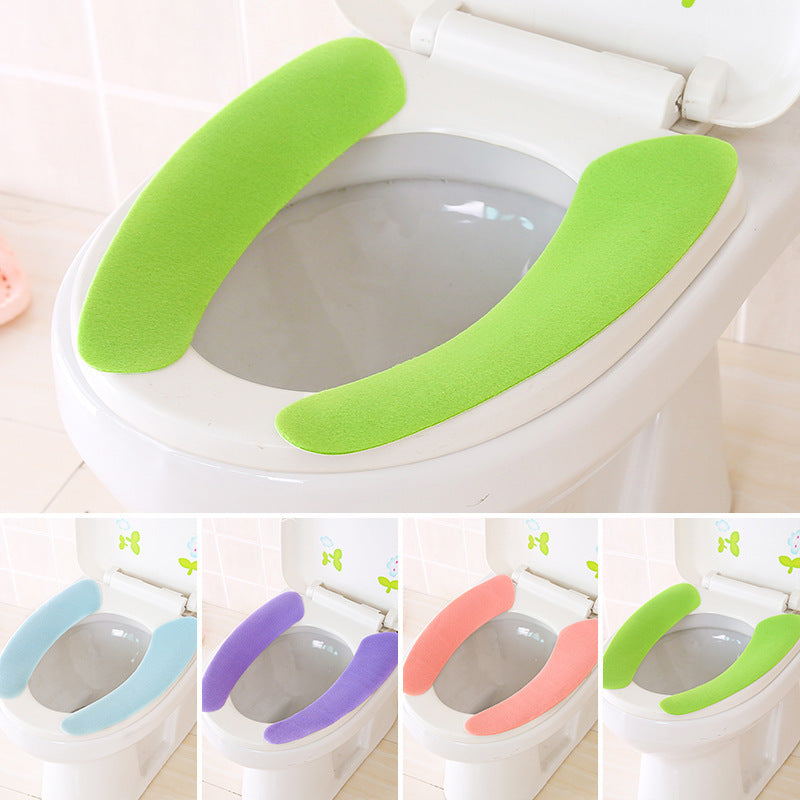 Toilet Seat Cover Soft WC Paste Toilet Seat Pad Washable Bathroom Warmer Seat Lid Cover Pad Toilet Closestool Sticky Seat Mat