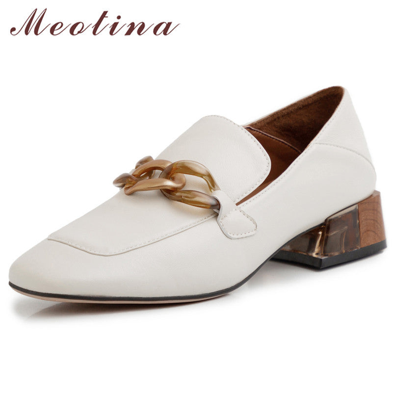 Meotina High Heels Women Pumps Natural Genuine Leather Thick Heel Loafers Shoes Real Leather Square Toe Shoes Ladies Size 33-40