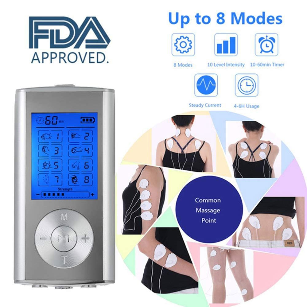 TENS EMS Unit 8 Modes Digital Palm Device Best Pain Relief Machine for Neck and Body Therapy Stimulation