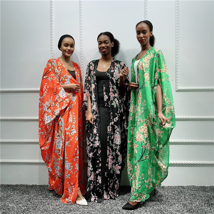Casual Muslim Abaya Print Maxi Dress Bat Sleeve Cardigan Long Robe Gowns Festival Ramadan Party Worship Service Islamic Clothing