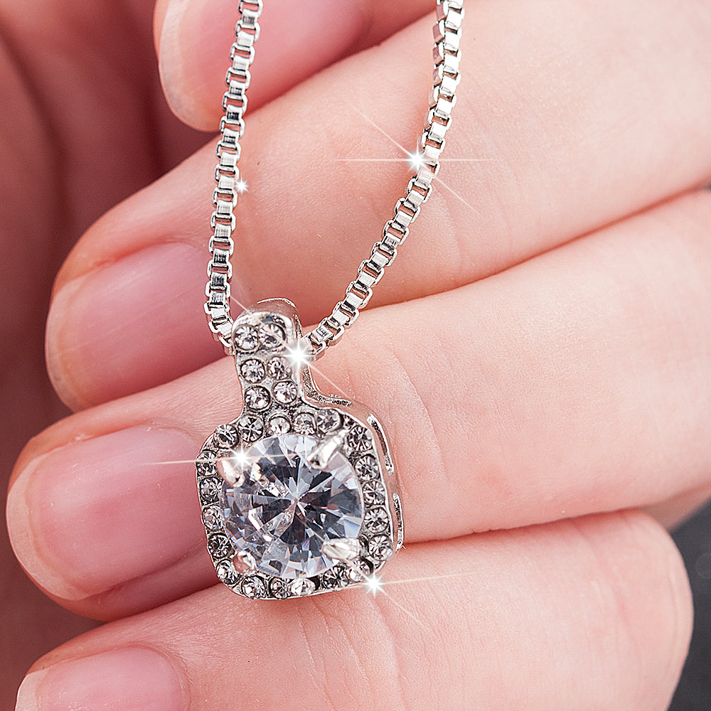 New Fashion 2020 Square Rhinestone Crystal Zircon Pendant Necklace Women  Metal Chain Necklace Jewelry