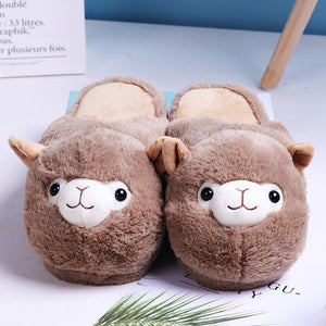 Slippers Women Winter indoor fur Flip Flop Alpaca Pink Brown Alpaca Parent-child Floor Soft Stripe House Shoe girl