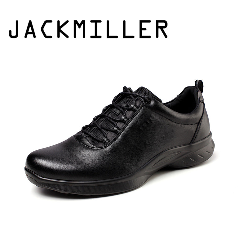 Jackmiller spring new shoes men lace-up basic solid black cool sneaker men fashion light breathable casual shoes man sport