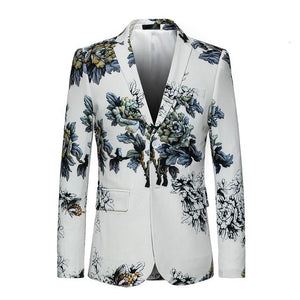 PYJTRL Men Quality Fashion Floral Pattern Slim Fit Casual Suit Jacket Stage Signers Slim Fit Suit Costume Dress Blazers