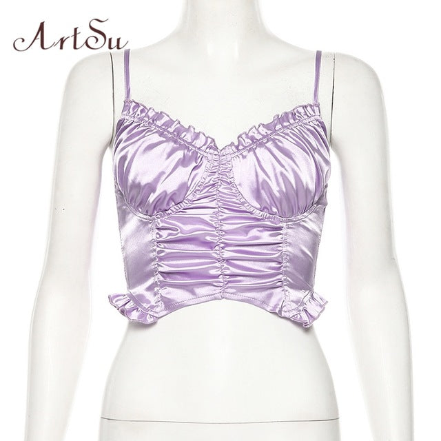 ArtSu Purple Spaghetti Strap Top Sexy Off the Shoulder Crop Tops Mujer Backless Ruffle Bustier top Women Streetwear ASVE20910