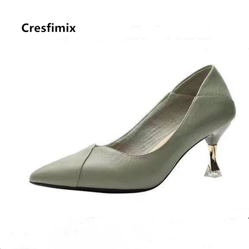Cresfimix Women Fashion Sweet High Quality Slip on High Heels Ladies Casual Green Summer High Heel Shoes & Pumps Zapatos B9114