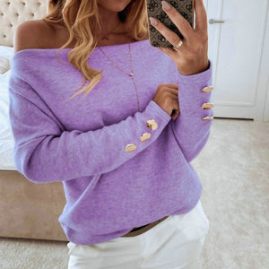 2020  Sexy Off Shoulder Tops and Shirt Sexy Off Shoulder Long Sleeve Solid Color Women Blouse Fall Clothing
