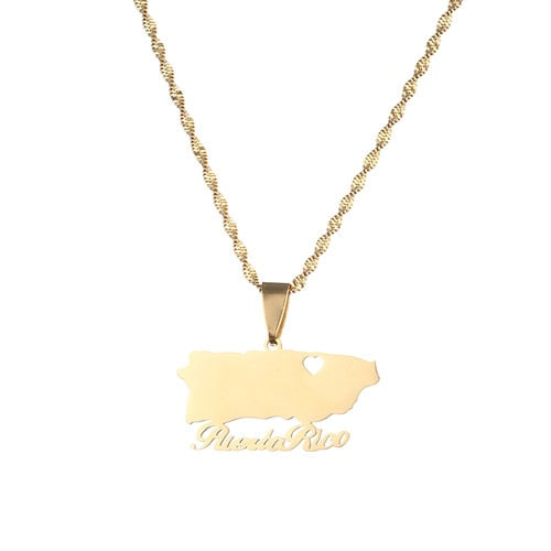 Puerto Rico With Heart Map Pendant Necklaces Gold Color PR Puerto Ricans Jewelry Gift