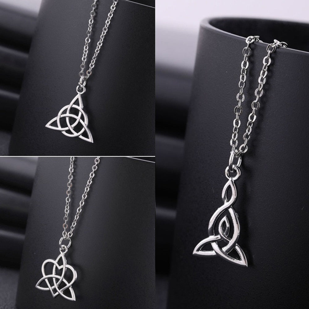 Teamer Irish Celtics Knot Pendant Necklace Simple Fashion Jewelry Silver Color Magic Wicca Viking Necklace for Female Adjustable