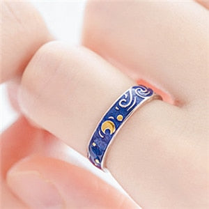 925 Sterling Sliver Starry Night Van Gogh Adjustable Ring Couple Lover's Real Price Most Sold 2019 Drop Shipping Women Jewelry