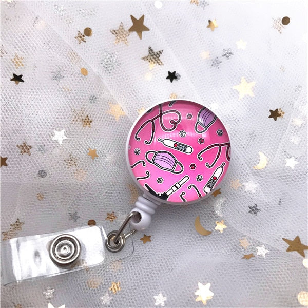 New Arrival Top Quality Retractable Doctor Nurse Badge Reel Fashion Cartoon cute Students ID Card Badge Holder